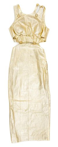 A Gianni Versace Gold Leather Cut Out Gown,