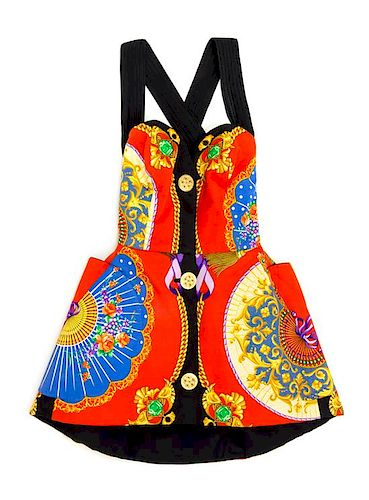 A Gianni Versace Silk Atelier Print Mini Dress, No size.