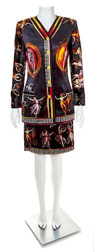 "A Gianni Versace Printed Silk Velvet ""Canova"" Skirt Suit, Size 38."