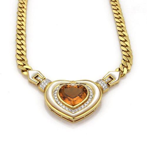 Diamond Citrine & Mother Of Pearl Gold Heart Neckl