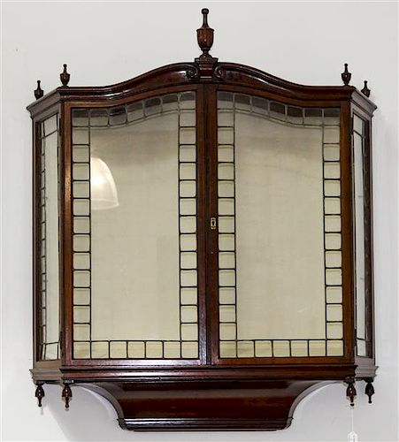 * A Georgian Style Mahogany Hanging Vitrine Length 49 3/4 inches.