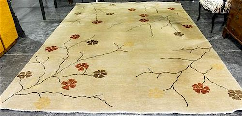 An Indian Wool Rug Width 8 feet 11 inches.