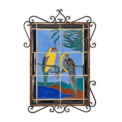 CATALINA Rare tile panel w/ parrots