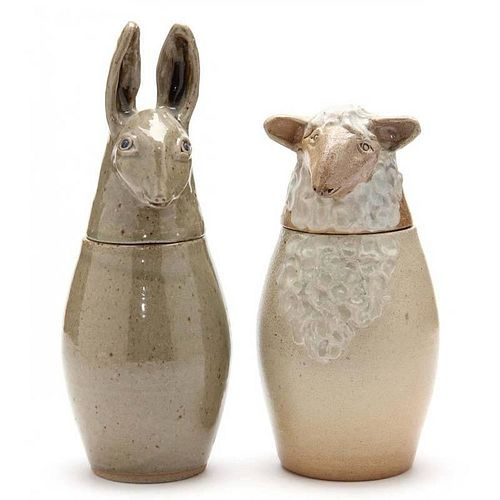 NC Folk Pottery, Pam Owens, Figural Canisters