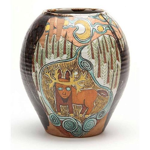 NC Pottery, Jane Peiser, Decorated Vase