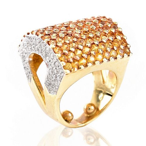 Diamond, Citrine and 14K Gold Ring by Kodner Galleries - 1127655
