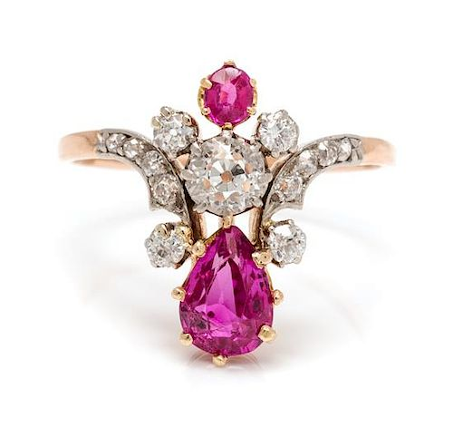 6c9430055 An Edwardian Platinum Topped Rose Gold, Pink Sapphire and Diamond ...