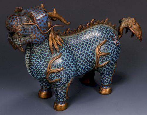 Fine Chinese Cloissone Gilt Bronze Foo Lion