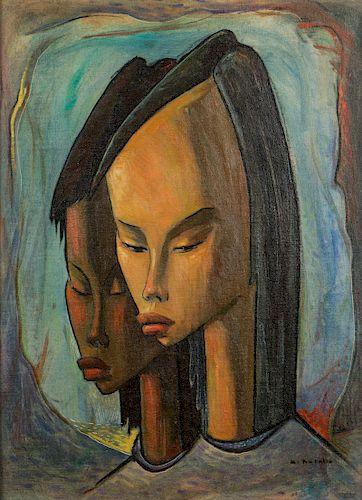 "Angel Botello (1913-1986) ""Two Girls"""