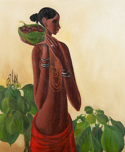 B. Prabha (1933-2001) Painting of a Woman with Fruits