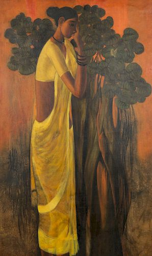 B. Prabha (1933-2001) Painting of a Standing Woman