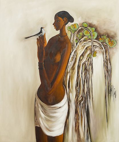 B. Prabha (1933-2001) Painting of a Woman with Bird