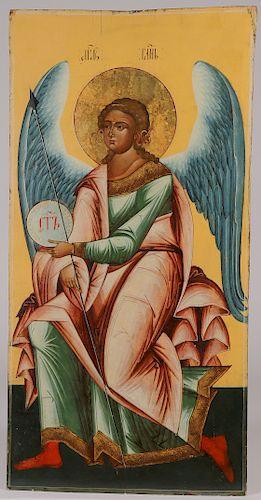 RUSSIAN ICON OF AN ANGEL OF THE LORD, 19TH C