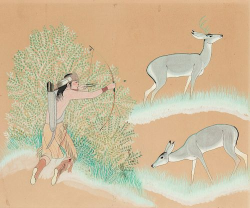 Harrison Begay (1914-2012), Man Hunting Deer by Santa Fe Art