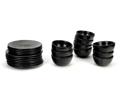 Maria and Julian Martinez , Set of Blackware dishes