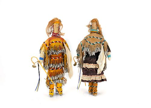 Apache , Pair of Beaded Dolls