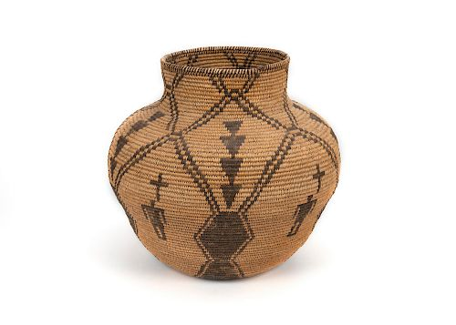 Apache , Pictorial Olla Shaped Basket