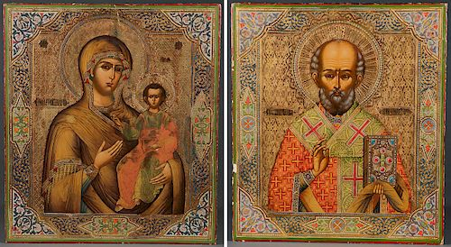 RUSSIAN DOUBLE SIDED PROCESSIONAL ICON CIRCA 1890