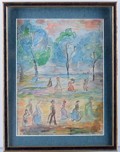 Maurice Prendergast Park Scene Watercolor