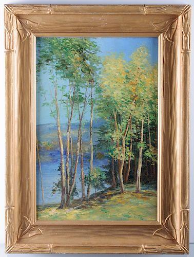 Willard Leroy Metcalf Landscape Oil on Board