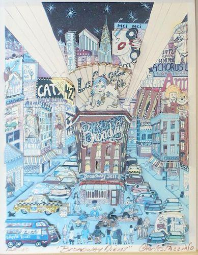 "FAZZINO, Charles. 3-D Serigraph. ""Broadway Night"""
