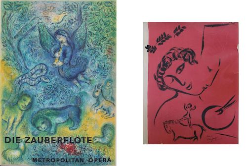 CHAGALL, Marc (After). Lot of Two Lithographs.