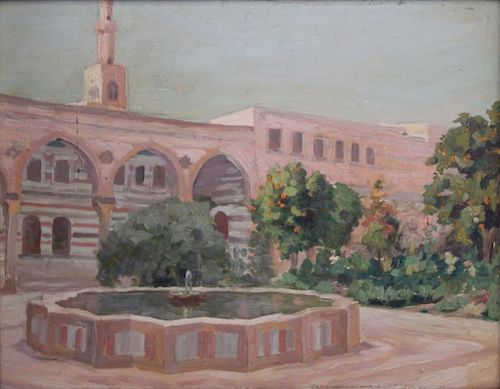 "MACKSOUND, Nicolas. Oil on Board. ""Court in Asad"
