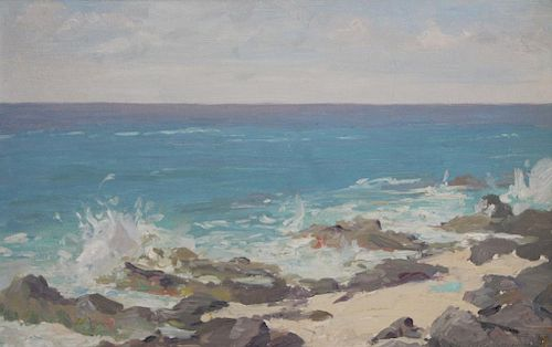 "MACKSOUND, Nicolas. Oil on Board. ""The Sea and"