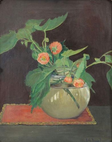 BURGESS, Ruth. Oil on Canvas. Flowers in a Vase.