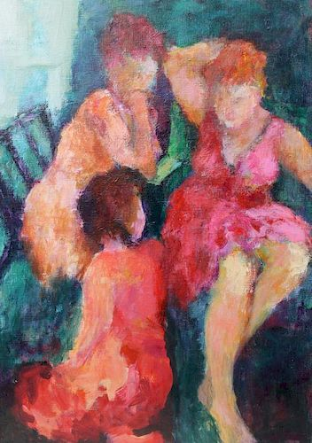 WILSON, M. Oil on Canvas. Abstract Figures.