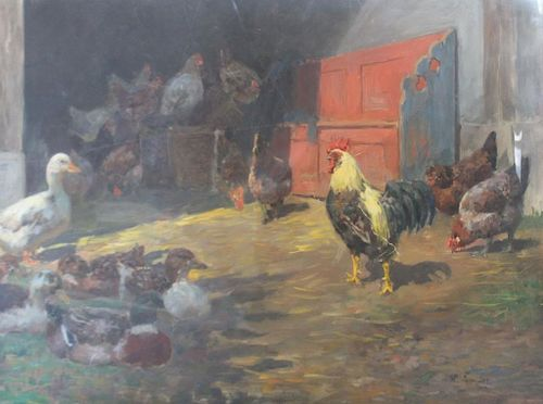 BRANDES, Willy. Oil on Canvas. Fowl.