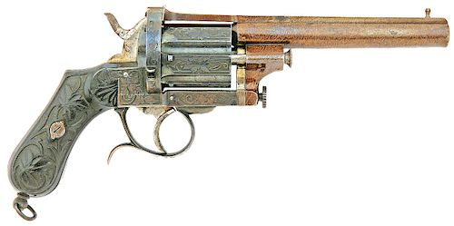 Lovely Engraved Italian Double Action Pinfire Revolver by Mazza