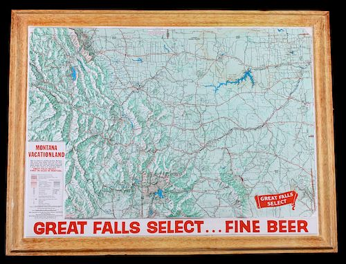 Great Falls Select Beer Montana Topographic Map By North American