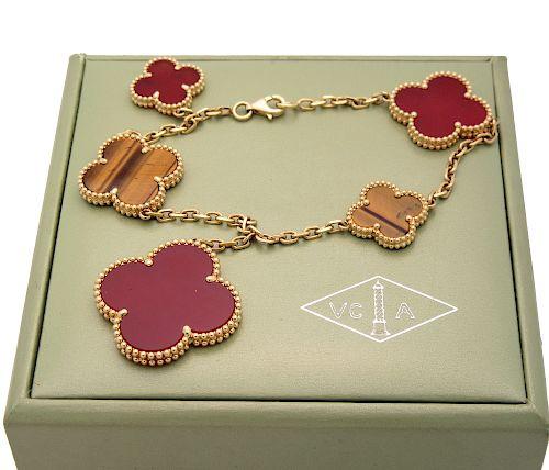 Van Cleef & Arpels Yellow Tiger Eye Carnelian Gold Bracelet