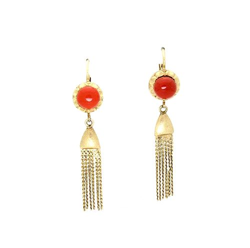 Vintage Rare Corletto 18K Gold Coral Dangle Earrings