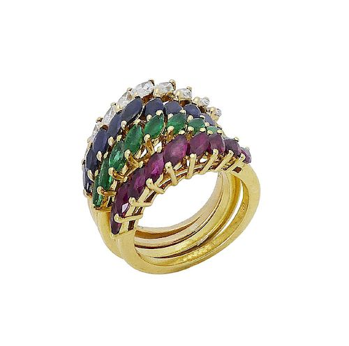 18k Gold 5.50 TCW Diamond Ruby Emerald Sapphire Ring