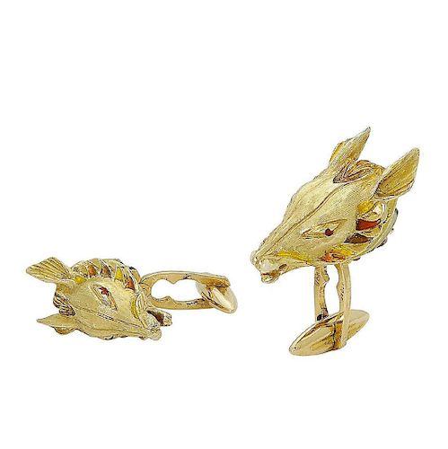 Estate 18k Gold Red & Yellow Enamel Horse Cufflinks