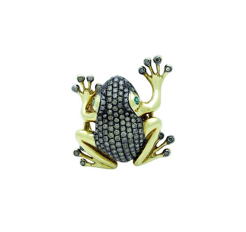 Designer 18k Yellow Gold 1.65 TCW Diamond and Emerald Frog Ring Size 8.25