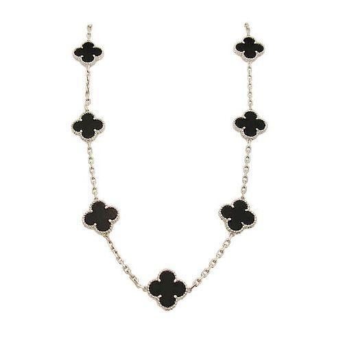 Van Cleef & Arpels 18K White Gold Black Onyx Alhambra Necklace
