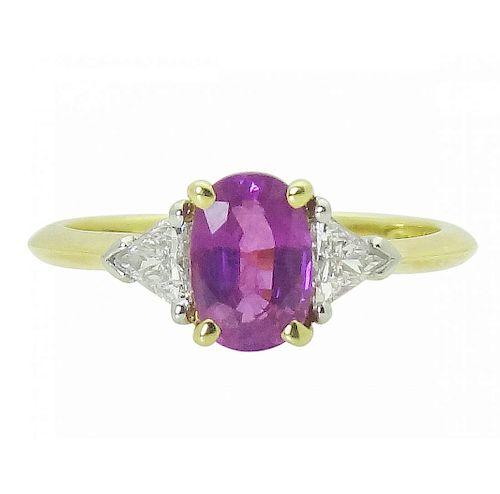 Tiffany & Co 18K Gold PT Pink Sapphire Diamond Ring