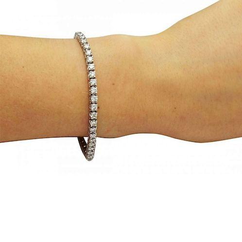 14K White Gold 5.TCW Diamond Tennis Bracelet