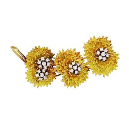 18k Gold 1.00TCW, VS-SI, G-H, Diamond Flower Brooch