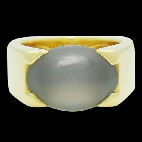 Cartier 18k Gold Large 14 x 5mm Oval Chalcedony Ring