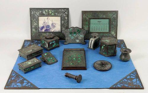 Tiffany Studios Bronze Desk Set, Grapevine Pattern