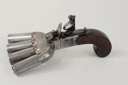 Engraved Flintlock Duckfoot Volley Pistol