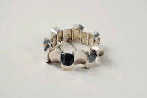 """Mexican Sterling Silver """"Thumbprint"""" Bracelet"""