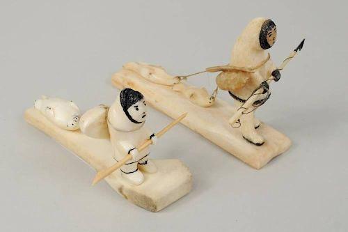 Two Inuit Walrus Ivory & Bone Scrimshaw Carvings