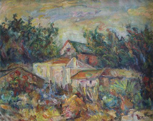 LERNER, Sandy. Oil on Canvas. Townscape.