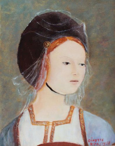 GINETTE. Oil on Canvas. Woman in Renaissance Dress