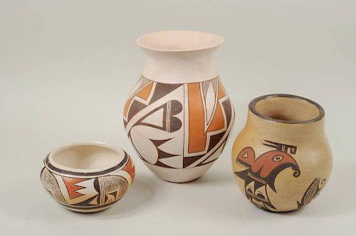 Two Vintage Hopi & One Laguna Pot